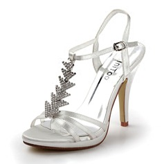 Satin Stiletto Heel Platform Sandals Wedding Shoes With Rhinestone (047011850)