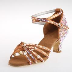 Donna Satinato Tacchi Latino Sala da ballo Salsa Matrimonio Partito con Rhinestone Listino alla caviglia Scarpe da ballo