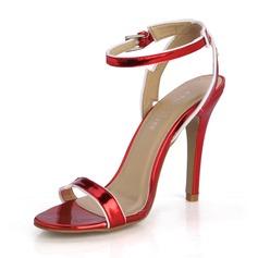 Naisten Kiiltonahka Piikkikorko Sandaalit Avokkaat Peep toe jossa Solki kengät