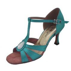 De mujer Satén Tacones Danza latina con Rhinestone Tira de tobillo Hebilla Zapatos de danza