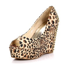 Canvas Wedge Heel Sandals Wedges Peep Toe With Rivet Animal Print shoes