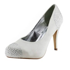 Satin Stiletto Heel Closed Toe Pumps Wedding Shoes With Rhinestone (047011879)