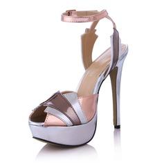 Cuero Tacón stilettos Sandalias Plataforma Encaje Solo correa con Hebilla Material Block zapatos