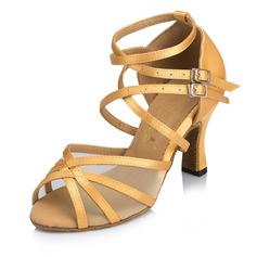 De mujer Cuero Tacones Sandalias Danza latina con Tira de tobillo Hebilla Zapatos de danza
