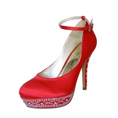 Women's Satin Stiletto Heel Closed Toe Platform Pumps With Buckle Rhinestone