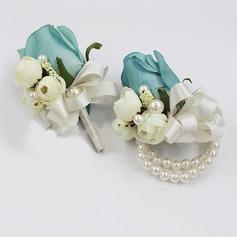 Delicado Seda artificiais/Pérola Imitação Conjuntos de flores (conjunto de 2) - Buquê de pulso/Alfinete de lapela