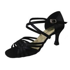 De mujer Satén Tacones Danza latina con Tira de tobillo Hebilla Zapatos de danza