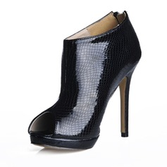 Patent Leather Stiletto Heel Peep Toe Ankle Boots With Animal Print