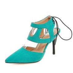 Donna Camoscio Tacco a spillo Punta chiusa Con cinturino scarpe