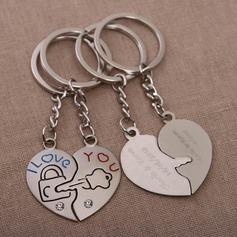"""Individualisiert """"Taste zu Ihrem Herzen"""" Chrom Schlüsselanhänger (Set aus 4 Paar)"""