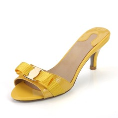 Patent Leather Low Heel Sandalen Slippers met Strik schoenen