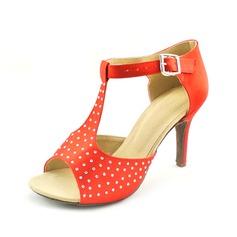 Women's Satin Heels Sandals Latin With Rhinestone T-Strap Dance Shoes