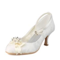 Frauen Spitze Spule Absatz Geschlossene Zehe Absatzschuhe mit Nachahmungen von Perlen
