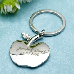 "Personalized ""Apple of My Eye"" Stainless Steel Keychains (Set of 6)"