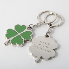 Personalized Four Leaf Clover Zinc Alloy Keychains (Set of 4)