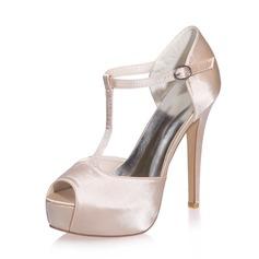 Women's Satin Stiletto Heel Peep Toe Platform Sandals
