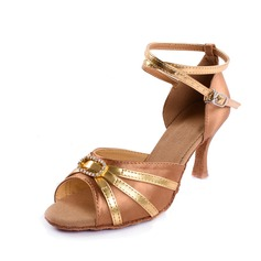De mujer Satén Cuero Tacones Sandalias Danza latina con Rhinestone Tira de tobillo Zapatos de danza