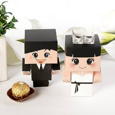 Bride & Groom Favor Box With Silver Crown (Set of 6 Pairs) (050005790)