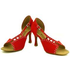 De mujer Ante Tacones Sandalias Danza latina Salsa Fiesta con Tira de tobillo Zapatos de danza