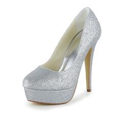 Women's Sparkling Glitter Stiletto Heel Closed Toe Pumps