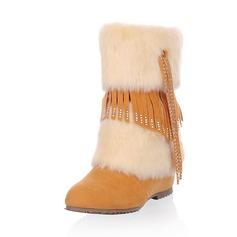 Keinonahasta Matala heel Mid-calf saappaat Lumi saappaat jossa Tekojalokivi Tupsu Turkis kengät