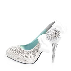 Leatherette Stiletto Heel Closed Toe Pumps Wedding Shoes With Bowknot Rhinestone Sequin (047011870)