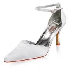 Женщины Атлас Высокий тонкий каблук Закрытый мыс На каблуках с пряжка