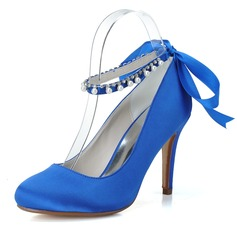 Women's Satin Stiletto Heel Closed Toe Pumps With Bowknot Imitation Pearl