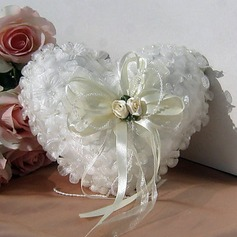 Ring Pillow In Ivory Satin With Ribbons And Petals(103018293)