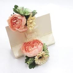 Fascinante Seda artificiais Conjuntos de flores (conjunto de 2) - Buquê de pulso/Alfinete de lapela