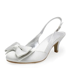 Satin Low Heel Closed Toe Slingbacks Pumps Wedding Shoes With Bowknot Buckle (047010770)