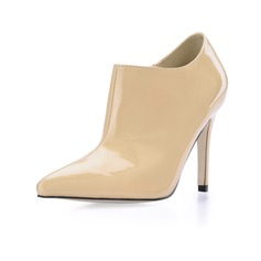 Patent Leather Stiletto Heel Closed Toe Pumps Ankle Boots