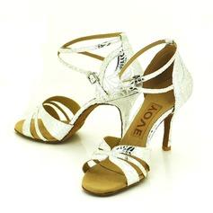 De mujer Cuero Tacones Sandalias Danza latina Salsa Fiesta con Tira de tobillo Agujereado Zapatos de danza