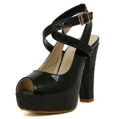 Leatherette Chunky Heel Peep Toe Pumps With Buckle (085025154)