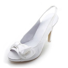 Women's Satin Cone Heel Peep Toe Platform Sandals Slingbacks With Bowknot