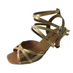 De mujer Cuero Brillo Chispeante Tacones Danza latina con Tira de tobillo Zapatos de danza