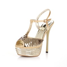 Satin Stiletto Heel Platform Sandals With Sequin (087016608)