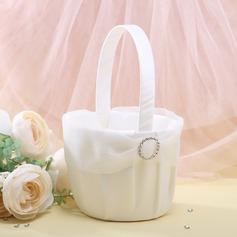 Elegant Flower Basket in Organza With Rhinestones