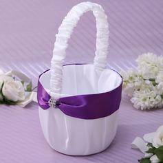 Classic/Kaunis Flower Basket sisään Satiini jossa Satiininauhavöitä