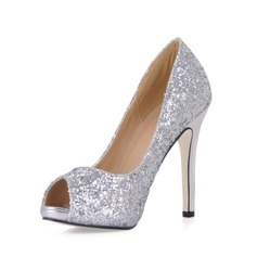 Sparkling Glitter Stiletto Heel Peep Toe Platform Pumps Wedding Shoes With Sequin (047020488)