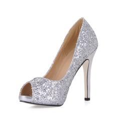 Kvinner Glitrende Glitter Stiletto Hæl Titte Tå Platform Sandaler med Paljetter