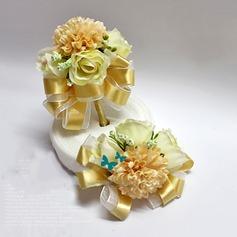 Clássico Seda artificiais Conjuntos de flores (conjunto de 2) - Buquê de pulso/Alfinete de lapela