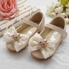 Girl's Real Leather Round Toe Closed Toe Mary Jane Flats With Bowknot