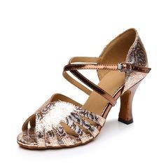 Donna Similpelle Pelle verniciata Tacchi Sandalo Latino con Listino alla caviglia Scarpe da ballo