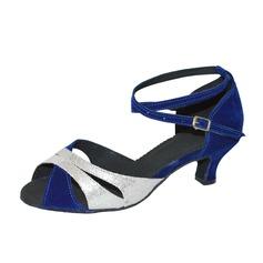 De mujer Cuero Ante Tacones Sandalias Danza latina con Tira de tobillo Zapatos de danza