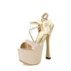 Satin Spool Heel Platform Sandals With Satin Flower (087023583)