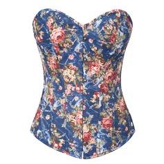 Polyester/Elasthan Stropløs Blondér/Front Bryst Lukning Formet beklædning