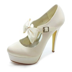 Sateng Stiletto Hl Lukket T Platform Pumps Brudesko med Slyfeknute Spenne (047017781)