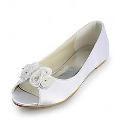 Women's Satin Flat Heel Peep Toe Sandals With Satin Flower