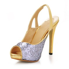 Sparkling Glitter Stiletto Heel Peep Toe Platform Slingbacks Pumps Wedding Shoes With Sequin (047016974)